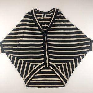 BCBGMaxazria Blue & Beige Stripe Buttoned Cardigan